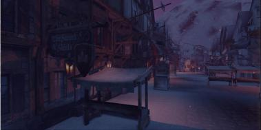 The same medieval environment with the added snow particle and the snow material painted onto the meshes using vertex painting.